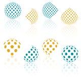 sphères de l'image tramée 3D Ensemble de milieux abstraits pointillé Photos stock