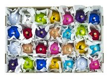 sphères de Noël dans une boîte Photo libre de droits