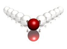 Sphères lustrées rouges et blanches sur le fond blanc Images stock