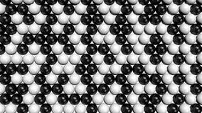 Sphères noires et blanches remplissant écran à partir du fond jusqu'au dessus Photo stock