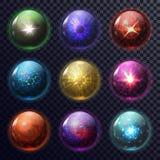 Sphères ou boules magiques pour la future prévision, globe illustration libre de droits