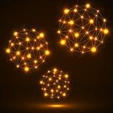Sphères polygonales abstraites, connexions réseau Image stock