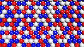Sphères rouges, blanches et bleues remplissant écran à partir du fond jusqu'au dessus Images stock