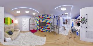 360 sphériques panorama sans couture de pièce du ` s d'enfants Image libre de droits