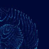 Sph?re 3d abstraite E Lignes rougeoyantes tordant la conception de logo Objet d'espace extra-atmosph?rique Style futuriste de tec illustration stock