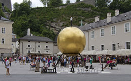 Sphaera by Stephan Balkenhol at the Kapitelplatz, Salzburg, Austria. Stock Photo