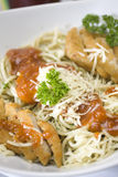 Sphagetti. Spaghetti recipe serve with chicken Royalty Free Stock Photos