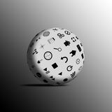 Sphere. Abstract sphere consisting of different icons for designers for various necessities Royalty Free Stock Image