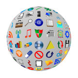 Sphere. Abstract sphere consisting of different icons for designers for various necessities Royalty Free Stock Photos