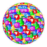 Sphere. Abstract sphere consisting of different icons for designers for various necessities Royalty Free Stock Photo