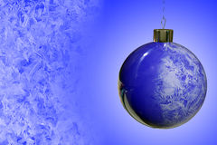 Sphere. Christmas-tree decoration with hoarfrost Royalty Free Stock Photos