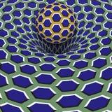 Sphere above blue hexagons hole. Optical motion illusion illustration.  Royalty Free Stock Image