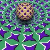 Sphere above purple stars hole. Optical motion illusion illustration.  Royalty Free Stock Photography