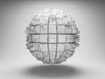 Sphere with abstract geometric shapes. 3d illustration Stock Image