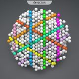 Sphere. Abstract structure with particles. Technology style. Vec. Tor illustration for design Stock Image