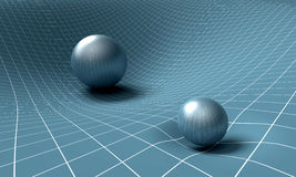 Sphere is affecting space / time around it.  Stock Photo