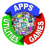 Sphere of Apps in Flowchart Diagram Royalty Free Stock Photography