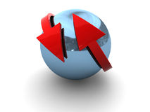Sphere and arrows. 3d illustration of blue chrome sphere and red arrows Royalty Free Stock Images