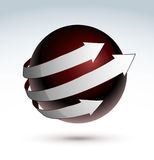 Sphere with arrows. A red sphere with arrows Royalty Free Stock Image