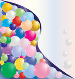 Sphere background 1. Diagonally curve splitted card template with colorful bubbles and copy space vector illustration. Look for more illustrations in my port Stock Images
