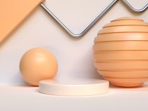 sphere ball yellow/orange geometric shape abstract podium set 3d render royalty free illustration