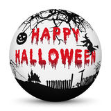 Sphere with Bloody Happy Halloween Text and Black Silhouettes Royalty Free Stock Photography