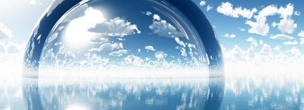 Sphere blue fantasy cloudy sky 3d illustration Royalty Free Stock Photo