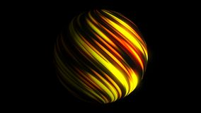 Sphere with bright glowing lines on black, 3d render background, computer generating. Sphere with bright glowing lines on black, 3d rendering background Royalty Free Stock Image