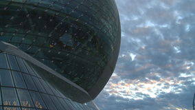 Sphere building and cloudy sky. stock footage