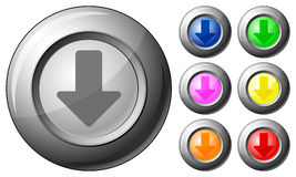 Sphere button arrow down Stock Photography