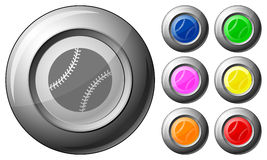 Sphere button baseball Royalty Free Stock Photos