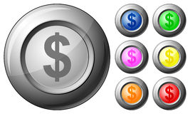 Sphere button dollar Stock Image