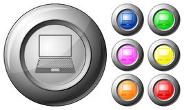 Sphere button laptop Stock Photography