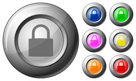 Sphere button padlock Royalty Free Stock Images