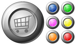 Sphere button shopping cart Stock Photography
