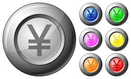 Sphere button yen Royalty Free Stock Photos
