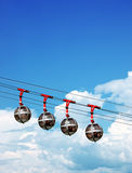 Sphere cable cars. Les Bulles, the cable cars tha Stock Photography