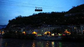 Sphere cable cars at sunset Royalty Free Stock Photos