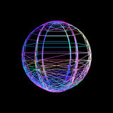 Sphere carcass framework.  on black background. Vector c. Olorful illustration. No gradient Royalty Free Stock Images