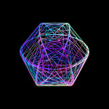 Sphere carcass framework.  on black background.. Vector colorful illustration. No gradient Stock Photography