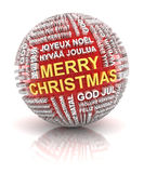Sphere with christmas greetings in different Royalty Free Stock Photo