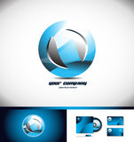 Sphere circle blue logo icon 3d Stock Images