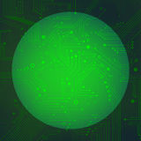 Sphere circuit over green background vector Royalty Free Stock Photography