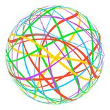 Sphere with colored lines stripes around orbit rainbow, vector planet trails of different colors gay globe Royalty Free Stock Image