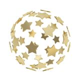 Sphere composition made of golden stars isolated. Sphere composition made of colorful glossy golden stars isolated on white background Royalty Free Stock Photo