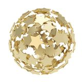 Sphere composition made of golden stars isolated Stock Image