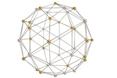 Sphere with connected lines and dots global digital connections. Wireframe. 3D illustration Vector Illustration