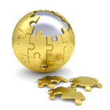 Sphere consisting of puzzles Stock Photos