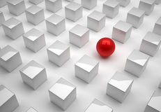 Sphere and cube. Red sphere and cubes network  - this is a 3d render illustration Stock Images