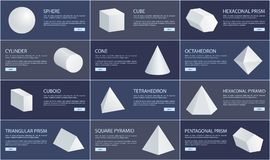 Sphere and Cube, Cone and Cuboid Geometric Set. Sphere and cube, cone and cuboid geometric figures set, octahedron and cylinder, triangular and pentagonal prisms Royalty Free Stock Photos